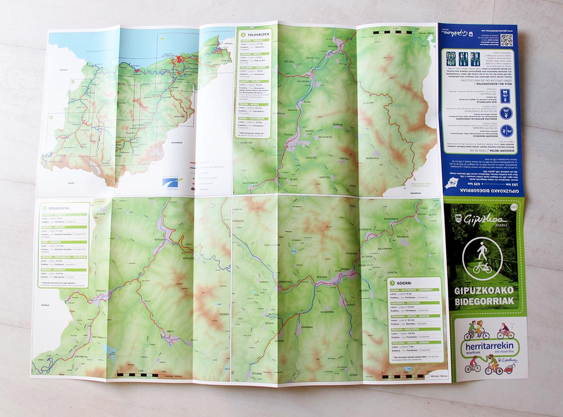 Gipuzkoako Bidegorri Sarearen mapa